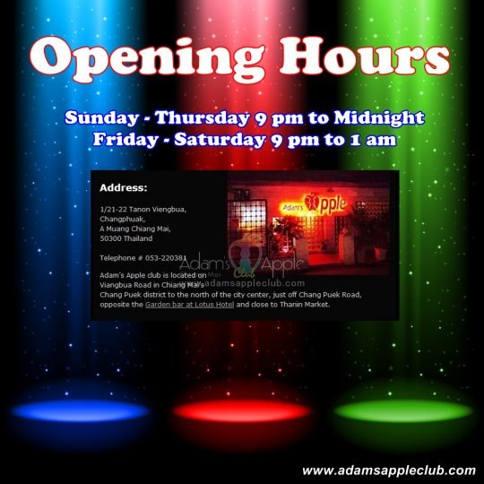 Opening Hours Adams Apple Club Chiang Mai