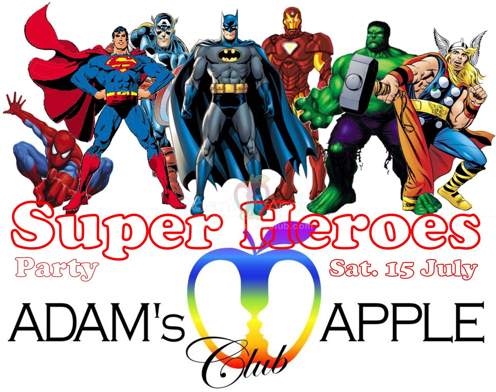Super Heroes Party Adams Apple Club