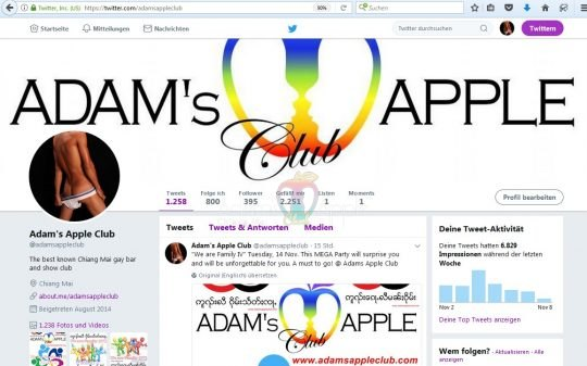 Follow us on twitter Adams Apple Club Chiang Mai