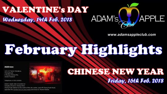 Adams Apple Club Chiang Mai Velentine and Chinese New Year