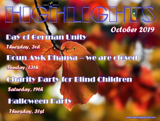 HIGHLIGHTS in October 2019 in Adams Apple Club Chiang Mai