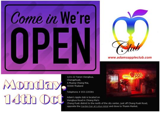 Adams Apple Club We are  Monday, 14th October OPEN