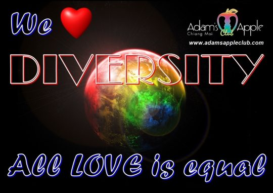 We LOVE DIVERSITY Adams Apple Gay Club Chiang Mai Host Bar