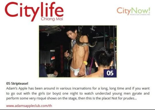 CITYLIFE MAGAZINE NEWS Adam's Apple Club in Chiang Mai Nightclub Gay Bar Adult Entertainment Liveshow most talented Show Boys a very amazing Cabaret