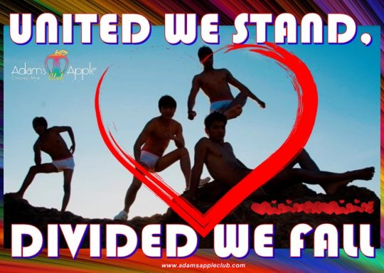 UNITED WE STAND, DIVIDED WE FALL Adams Apple Club Chiang Mai Adult Entertainment Go-Go Bar Host Club Gay Bar Ladyboy Caberet Liveshows