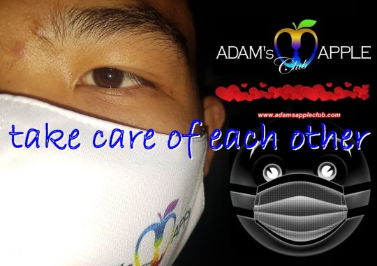 Wear a face mask! Be safe wear a MASK! STOP the Spread! Adams Apple Club, the premier gay host bar in Chiang Mai for Adult Entertainment and Liveshows