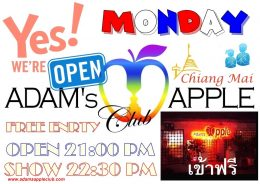 MONDAY - A NEW WEEK - START WITH US Adams Apple Club Gay Bar Chiang Mai Adult Entertainment Ladyboy Cabaret Go-Go Bar Nightclub Nightlife